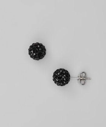 Black Crystal and Sterling Silver Stud Earrings