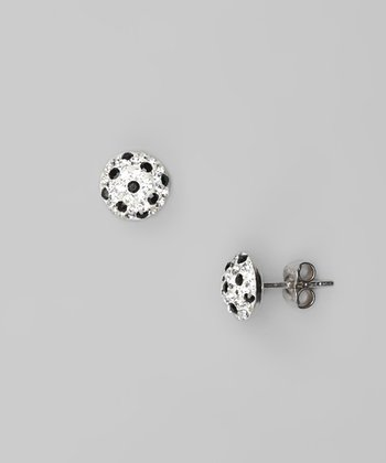 Black & White Crystal & Sterling Silver Half-Ball Stud Earrings