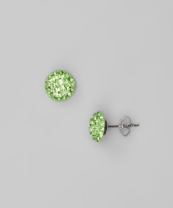 Green Crystal & Sterling Silver Half-Ball Stud Earrings