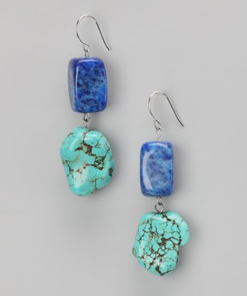 Turquoise & Lapis Chunky Earrings