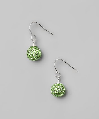 Green Fireball Crystal & Sterling Silver Earrings
