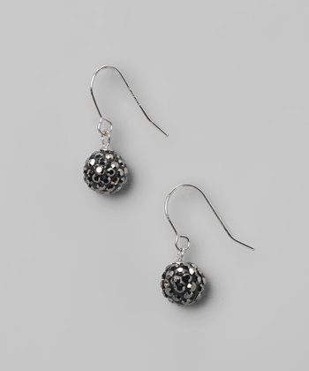 Gray Fireball Crystal & Sterling Silver Earrings