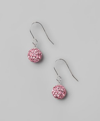 Light Pink Fireball Crystal & Sterling Silver Earrings
