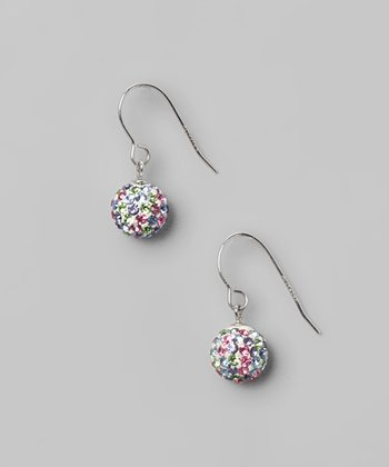 Light Multi Fireball Crystal & Sterling Silver Earrings