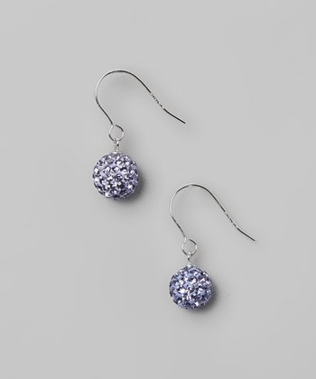 Purple Fireball Crystal & Sterling Silver Earrings