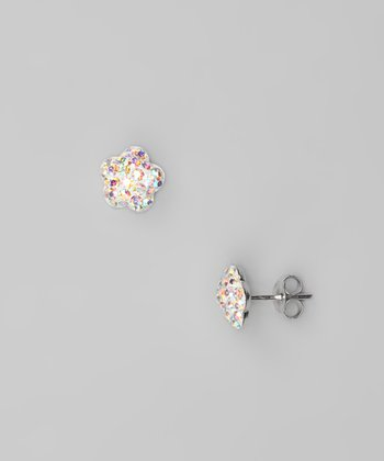 Aurora Borealis Flower Crystal & Sterling Silver Stud Earrings