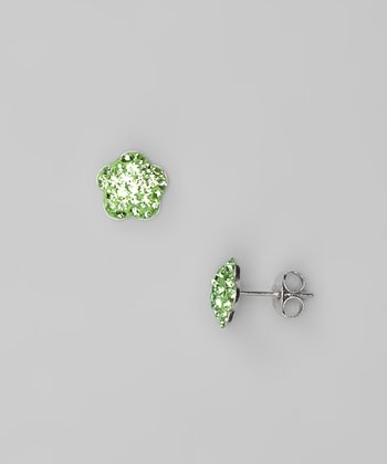 Green Flower Crystal & Sterling Silver Stud Earrings
