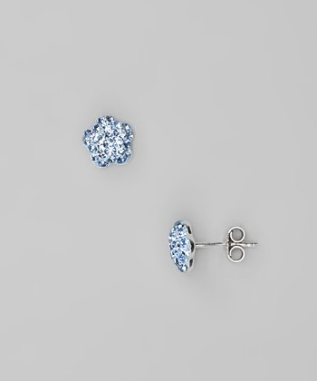 Light Blue Flower Crystal & Sterling Silver Stud Earrings
