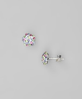 Multi Flower Crystal & Sterling Silver Stud Earrings