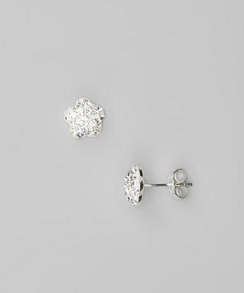 Clear Flower Crystal & Sterling Silver Stud Earrings