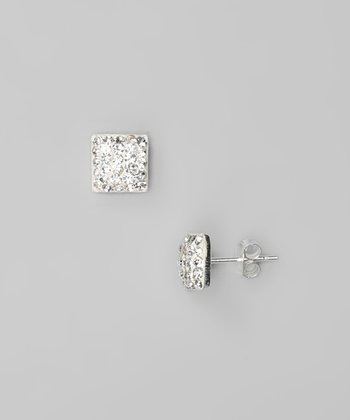 Clear Crystal & Sterling Silver Square Stud Earrings