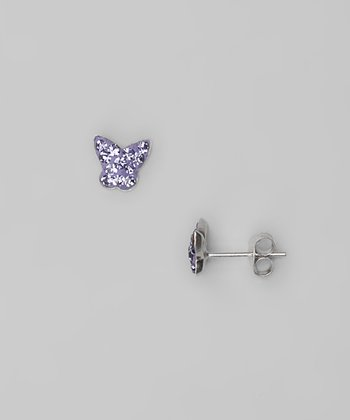 Purple Butterfly Crystal & Sterling Silver Stud Earrings