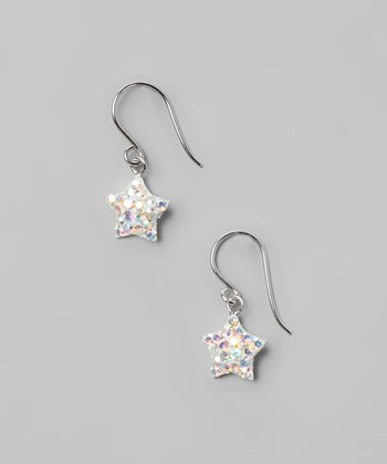 Aurora Borealis Star Hook-Back Crystal & Sterling Silver Earrings