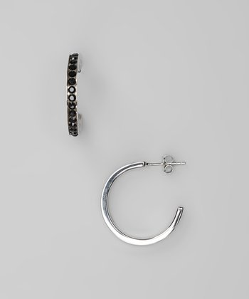 Black Crystal & Sterling Silver Hoop Earrings
