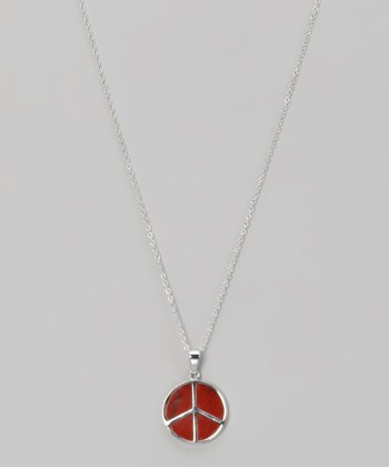 Red Jasper & Sterling Silver Peace Necklace