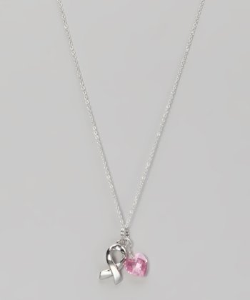 Pink Crystal Ribbon Charm Necklace