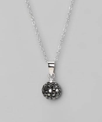 Gray Fireball 10mm Pendant Necklace