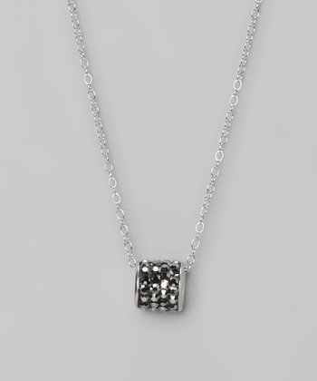 Gray Crystal and Sterling Silver Barrel Pendant Necklace