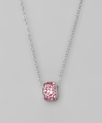 Pink Crystal and Sterling Silver Barrel Pendant Necklace