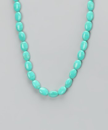 Turquoise & Sterling Silver Oval Bead Necklace