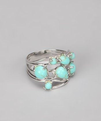 Turquoise & Sterling Silver Pebble Ring
