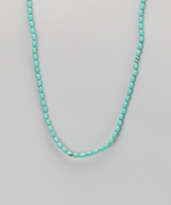 Turquoise & Sterling Silver Rice Bead Necklace