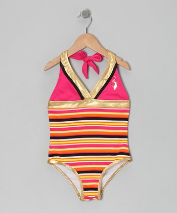 Fuchsia Stripe Halter One-Piece