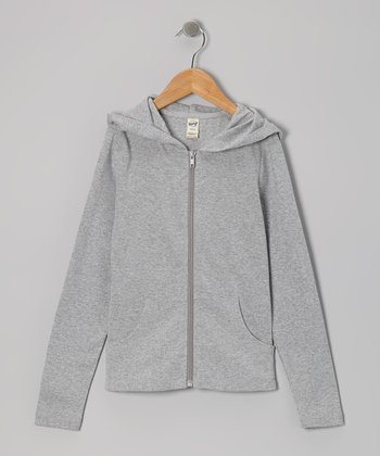 Heather Gray Zip-Up Hoodie - Girls