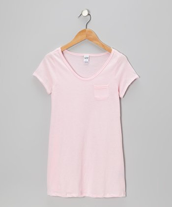 Baby Pink Raw-Edge Pocket Tee - Toddler & Girls