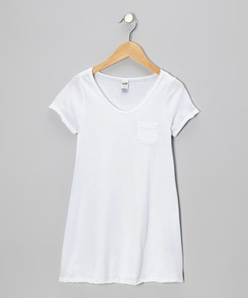 White Raw-Edge Pocket Tee - Toddler & Girls