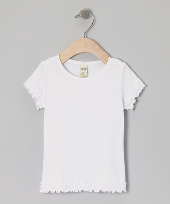 White Lettuce-Edge Tee - Toddler & Girls