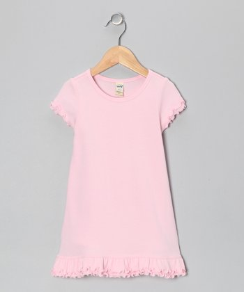 Baby Pink Lettuce-Edge A-Line Dress - Toddler & Girls