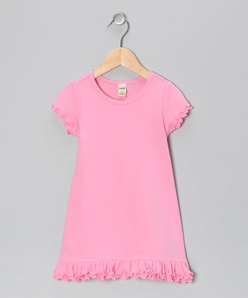 Bubblegum Pink Lettuce-Edge A-Line Dress - Toddler & Girls