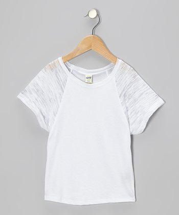 White Raglan Dolman Tee - Toddler & Girls
