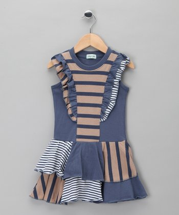 Blue Stripe Skater Dress - Toddler & Girls
