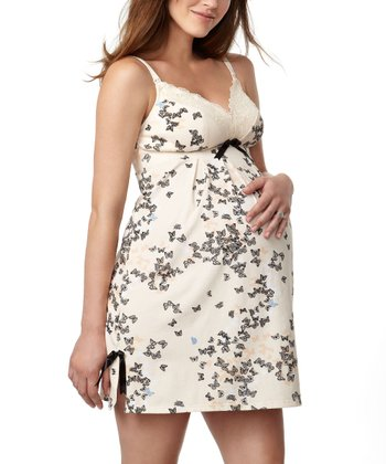 Silhouette Cream Butterfly Print Maternity & Nursing Nightgown - Women