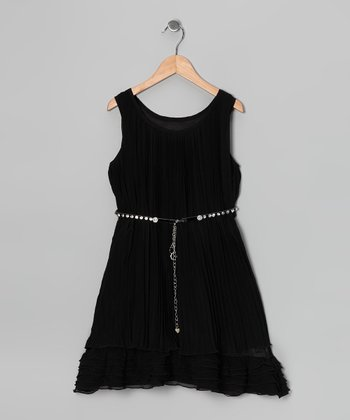 Black Shimmer Ruched Dress