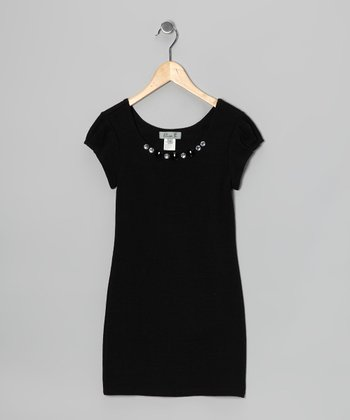 Black Rhinestone Sweater Dress - Girls