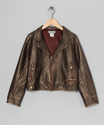 Brown Faux Leather & Suede Jacket