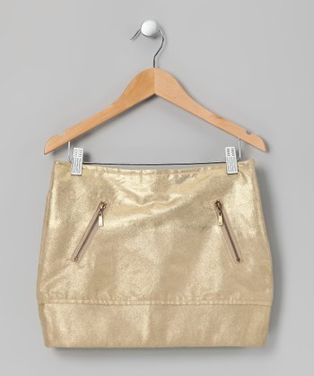 Gold Faux Suede Skirt