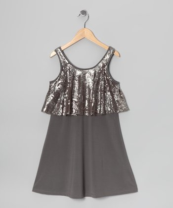 Pewter Lace A-Line Dress