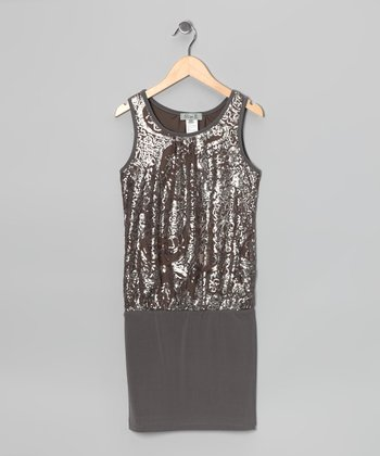 Pewter Lace Band Dress