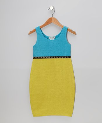 Turquoise & Yellow Stud Dress