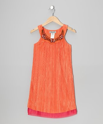 Orange & Berry Yoke Dress