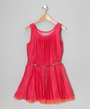 Berry & Orange Ruffle Dress