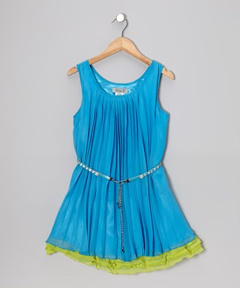 Turquoise & Green Ruffle Dress