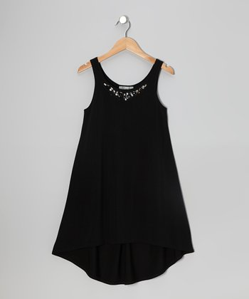 Black Rhinestone Hi-Low Dress