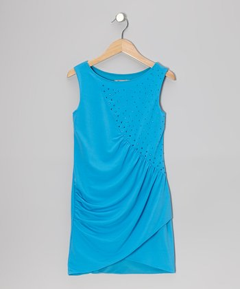 Blue Ruched Rhinestone Dress