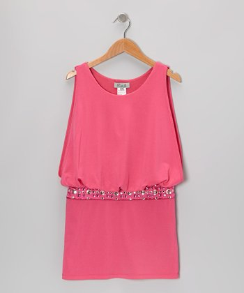Pink Rhinestone Scoop Neck Dress