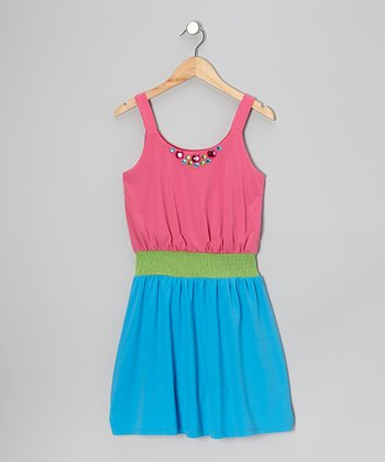 Fuchsia & Teal Rhinestone Color Block Dress